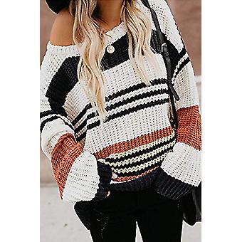 Black Striped Pattern Loose Knit Sweater