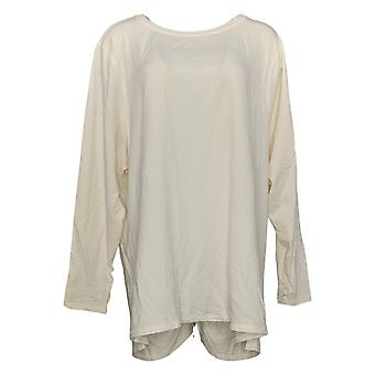 Zuda Women's Top Plus Z Knit Pullover W/ Ruched Back Detail White A389263
