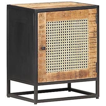 vidaXL bedside table 40x30x50 cm Rough mango wood and Viennese braid