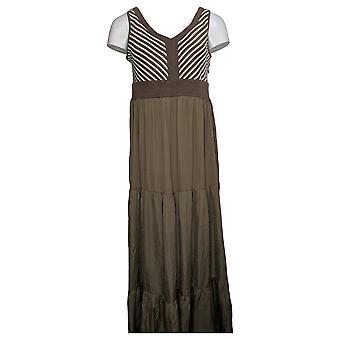 Lisa Rinna Collection Dress Chevron Bodice Maxi Dress Brown A308781