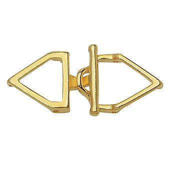 Cymbal veksle clasps for 11/0 Delica & Runde perler, Samaria, Trekant 17x36.5mm, 1 Sett, 24k Gullbelagt
