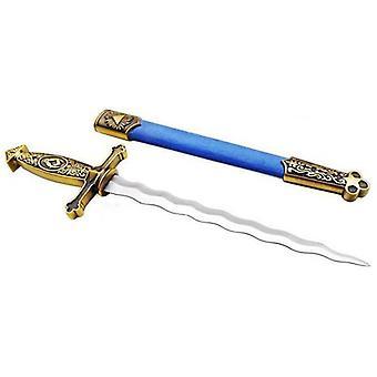 Boussole carrée couteau d'épée maçonnique serpent lame enflammée bleu 13.6»