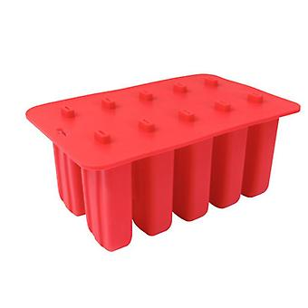 Dessert Freezer Cavity Silicone Popsicle Ice Cream Mold with Cover (23*15*10cm,Red)