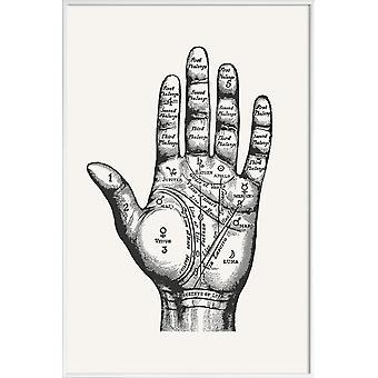 JUNIQE Print - Palmistry - Rétro & Vintage posters en gris & blanc