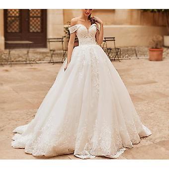 elegant kjæreste brud beaded broderi blonder opp a-line brudekjoler