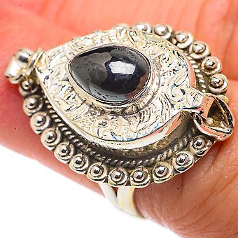 Large Hematite Poison Ring Size 6.25 (925 Sterling Silver)  - Handmade Boho Vintage Jewelry RING66695