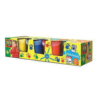 SES Creative - Barns tvättbara fingerfärger sätter fyra färgkrukor 3 till 6 år (flerfärg)