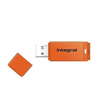 Integral 16GB USB2.0 Memory Flash Drive (Memory Stick) Neon Orange