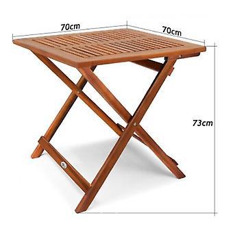 Mesa auxiliar plegable de madera dura 70X70