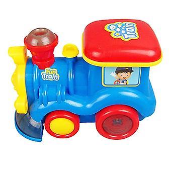 قاطرة البطارية الكلاسيكية تعمل لعبة محرك السيارة مع أضواء الدخان الصوت
