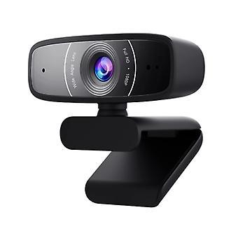 Asus Webcam C3 USB FHD -verkkokamera, jossa sädettä edustava mikrofoni, 1080p, 30fps, 90° kallistus, 360° kierto