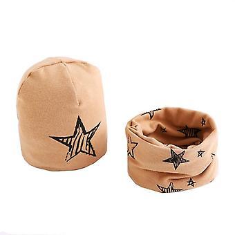 Plush Hat Scarf, Stars Print Neck Set-24