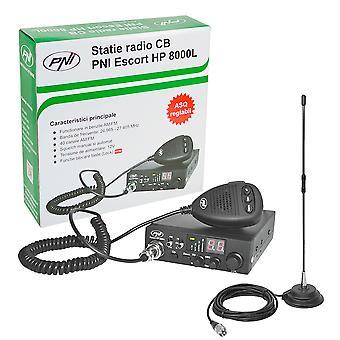 Kit CB CBI PNC ESCORT CB 8000L ASQ + CB PNI Extra 40 magnet antenă
