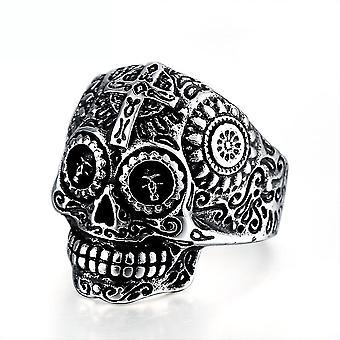 Retro Punk Kreuz Schädel Ring Titan Stahl Finger ring für Party