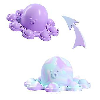 Silikon Reversible Octopus Doppelseitige Flip Fidget Spielzeug (Lila)