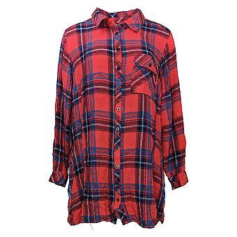 Coleção Tolani Top Feminino Plus Plaid Tunic Print Back Vermelho A383438