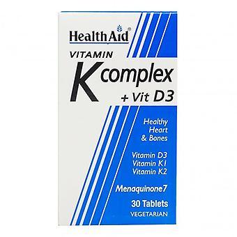 קומפלקס ויטמין K של HealthAid וטבליות ויטמין D3 30 (801217)