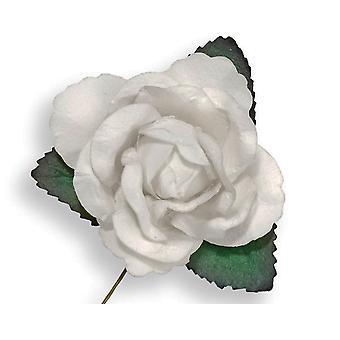SISTE FÅ - 12 hvite 45mm papir roseblomster