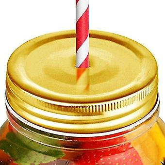 """Jars, R90092-000000-B01024, Gold Lid 2.75"""" (7cm) - with Straw Hole (Box of 24)"""