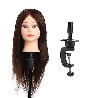26in 100% Verklig mänsklig hårträning HuvudHårträning Manikin Huvud Frisör Dummy