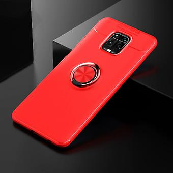 Keysion Xiaomi Redmi 9C Case with Metal Ring - Auto Focus Shockproof Case Cover Cas TPU Red + Kickstand
