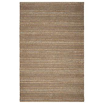 5' x 8' Tan and Gray Intricate Striped Area Rug