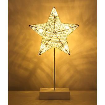 Lampada da tavolo decorativa, lampada da comodino a led alimentata a batteria a forma di stella, illuminazione notturna Luce bianca calda - Bianco