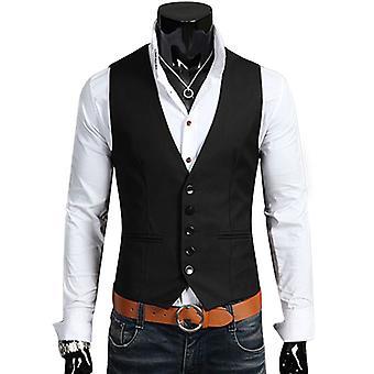 Men Formal Business Waistcoat Suit Vest Fit Jacket Coat