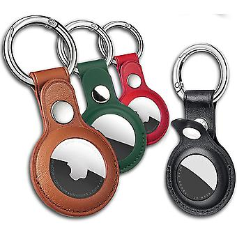 4 Pack Airtag Holder Pu Leather Keychain For Apple Airtag, Airtags Case Tracker Cover Compatible With Apple New Airtag Dog Collar(multi-color)