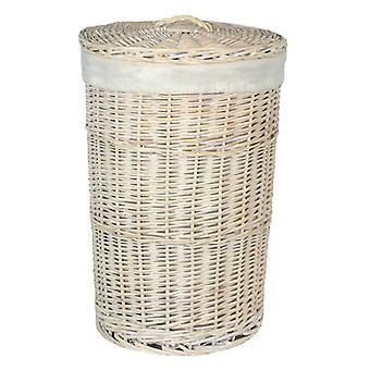 Grand rond blanc lavage panier à linge avec une doublure blanche