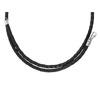 Mens Necklace in Leather and Stainless Steel 18 Inch