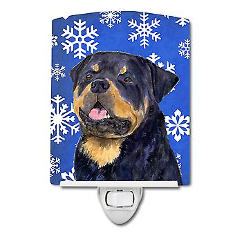 Rottweiler Winter Snowflakes Holiday Ceramic Night Light
