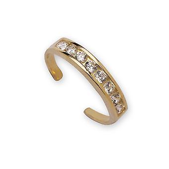 14k Giallo Oro C'è Cubic arieti Simulato Diamante regolabile Elegante Multistone Body Jewelry Toe Ring Gioielli regali fo