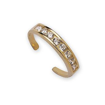 14k Yellow Gold CZ Cubic Zirconia Gesimuleerde Diamond Verstelbare Elegante Multistone Body Sieraden Toe Ring Sieraden Geschenken fo