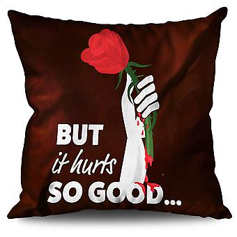 Love Hurts Rose Slogan linne kudde 30 x 30 cm | Wellcoda