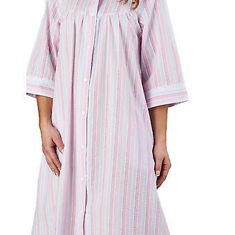 Slenderella HC1226 ženy ' s pruhom seersucker ružový župan loungewear vaňa župan 3/4 dĺžka rukáv župan
