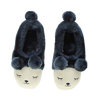 Ajvani womens pelliccia di inverno foderato pom pom novità orso fronte animale pantofole casa scarpe