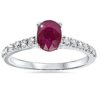 7 / 8ct овальный Ruby & бриллиантовое кольцо 14K Белое золото