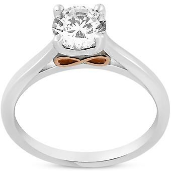 1ct Round Diamond Solitaire 14k Rose & White Gold Engagement Ring