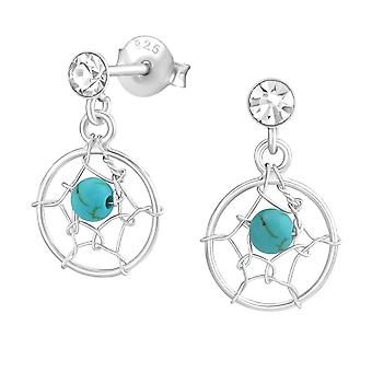 Dreamcatcher - 925 Sterling Silver Crystal Ear Studs - W33721x