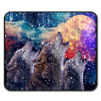 Wolf Moon Space Animal  Non-Slip Mouse Mat Pad 24cm x 20cm | Wellcoda