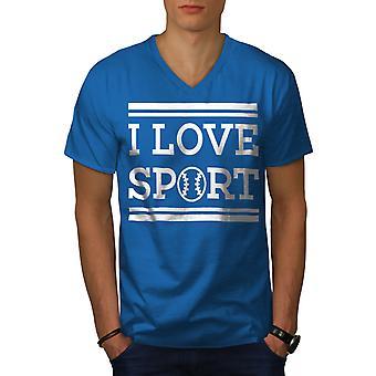 I Love Sport Tenis Men Royal BlueV-Neck T-shirt   Wellcoda