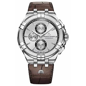 Maurice Lacroix Mens Aikon Chronograph Brown Leather Strap Silver Dial AI1018-SS001-130-1 Watch