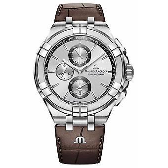 Maurice Lacroix Mens Aikon cuir marron bracelet cadran argent AI1018-SS001-130-1 chronographe