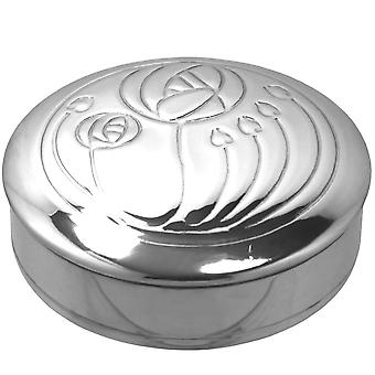 Rennie Mackintosh Glasgow Rose Pewter Trinket Box - 3.5