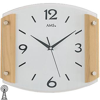 Radio controlled wall clock clock clock radio clock square wood mineral glass 26 x 30 cm AMS