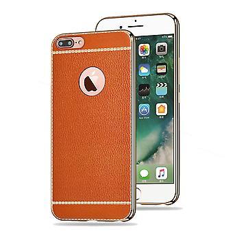 Matkapuhelin tapauksessa Apple iPhone 8 plus suojakotelo laukku puskurin faux nahka Brown