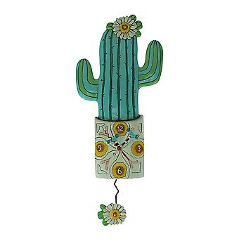 Allen Designs Desert Bloom Cactus Pendulum Wall Clock