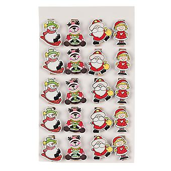 20PC TRIXES assortiment de chevilles en bois Noël porte-cartes Design avec 180cm fil d'or