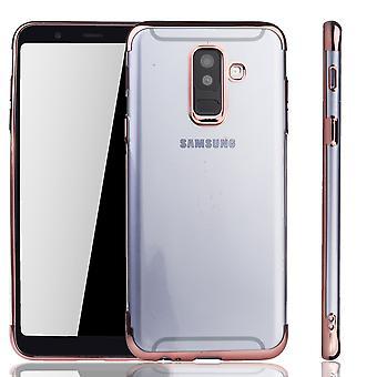 Handyhülle für Samsung Galaxy A6 Plus Rose Pink - Clear - TPU Silikon Case Backcover Schutzhülle in Transparent / glänzender Rand Rose Pink